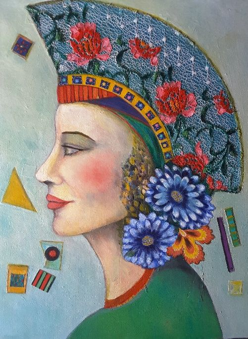 Lynne Mettam, Lydia, Oil and Mixed Media on Canvas, $500