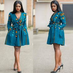 Turquoise african print dress