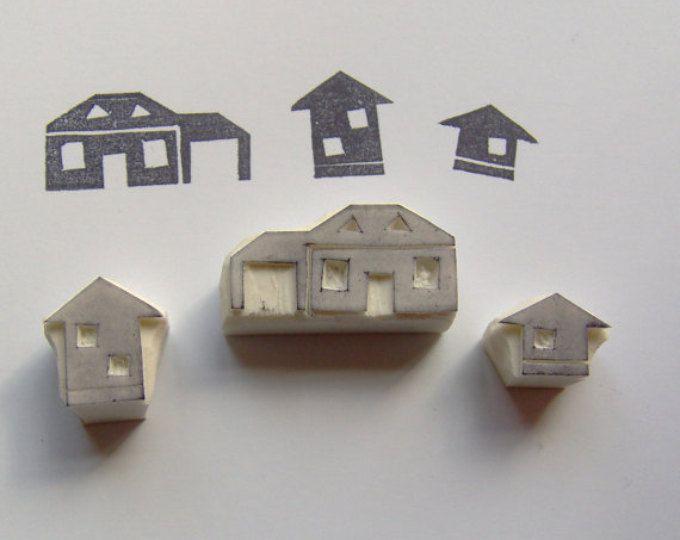 Timbro di gomma di House, timbro di gomma del villaggio, set di 3, piccola città di francobolli, edificio timbro, timbro di gomma, città di casa, dolce casa, scrapbooking