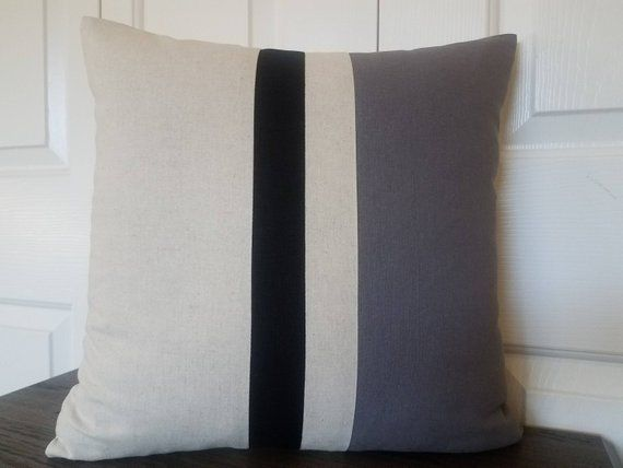 Striped Linen Color Block Pillow Cover