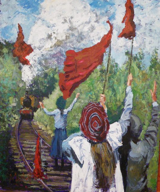 Timmy Mallett - Painting - Railway Children - The Red Bloomers!