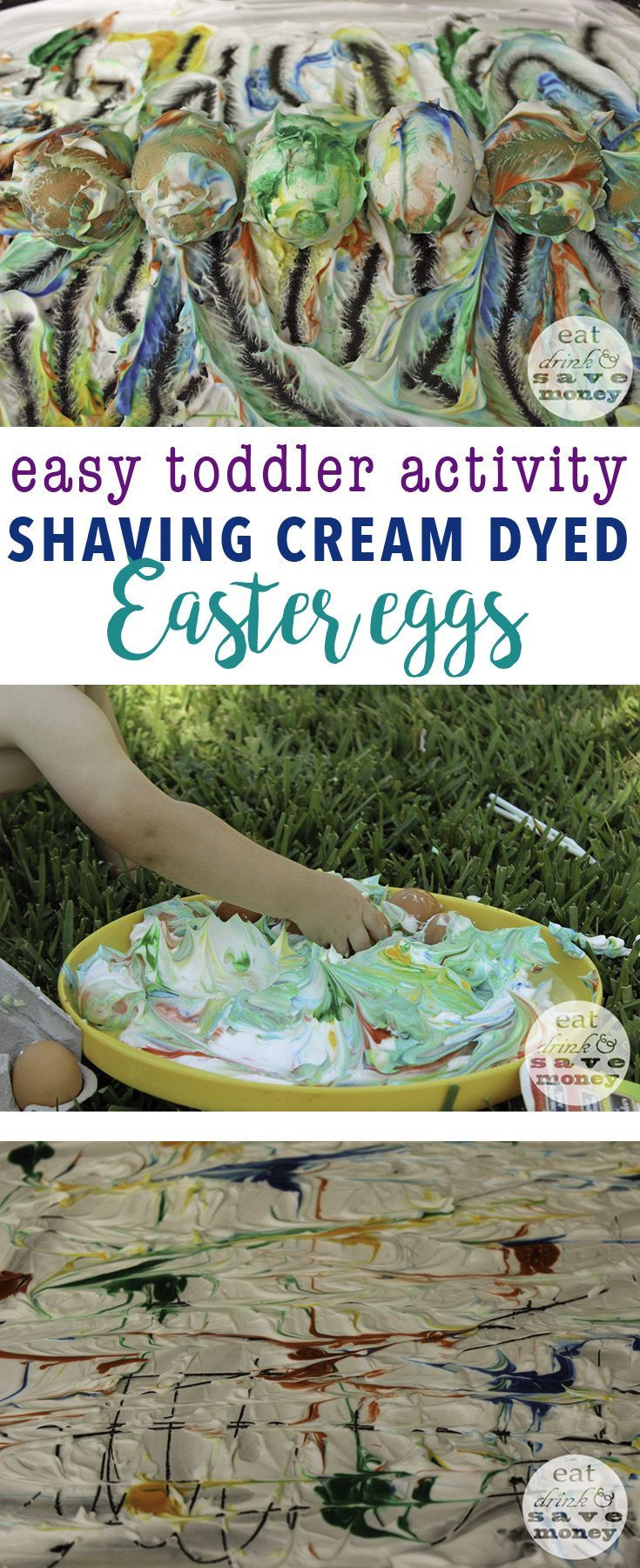 Easy toddler activity- shaving cream dyed Easter eggs are super fun and easy to do with kids and babies   Shaving cream dyed Easter eggs http://eatdrinkandsavemoney.com/2015/03/24/shaving-cream-dyed-easter-eggs/
