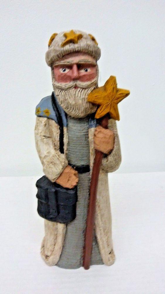 VTG Hand Carved Wooden Santa Claus 1998 Eric Zimmerman #118 Folk Art