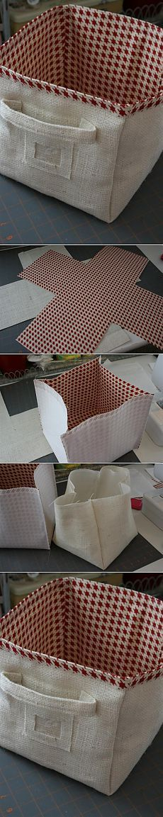 contenedor de tela, en forma de caja fácil y decorativo ♡
