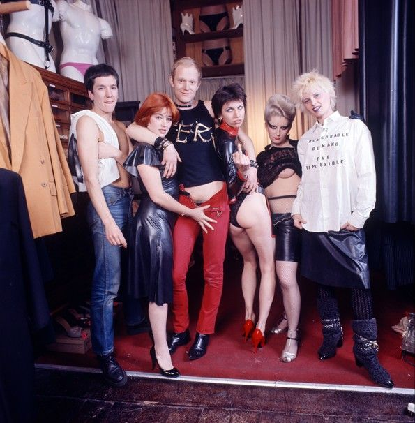 Photographed in the shop SEX in the King's Road, London Vivienne Weswood far right