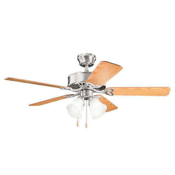 Kichler 339240bss four light brushed stainless steel ceiling fan www ctlighting com