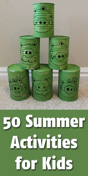 There are lots of neat ideas but I am mainly pinning this so I can remember the Angry Birds cans. The kids would love this. You could also add wooden blocks and create larger structures to knock down.
