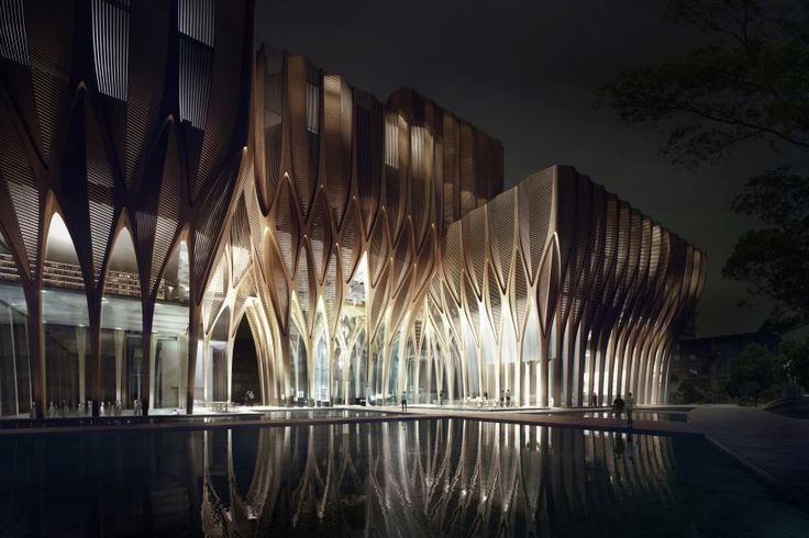 The interweaving structures of the Sleuk Rith Institute recall Cambodia's Angkorian architectural forms.