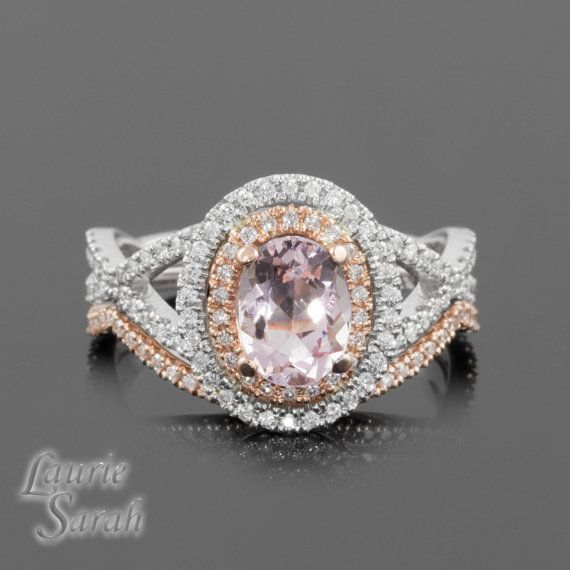 oval cushion cut pink sapphire engagement ring with diamond halo and two diamond wedding bands - Morganite Wedding Ring Set