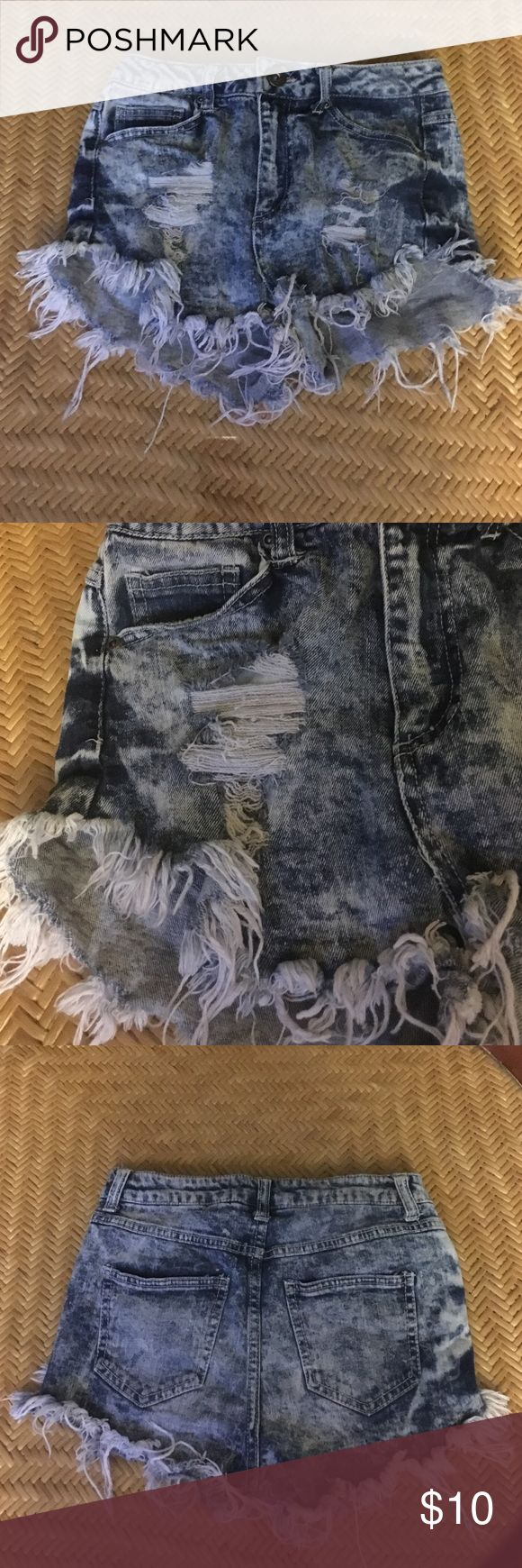 High rise cut off jean shorts size 1 (25) High rise cut off jean shorts size 1 (25). Has four pockets altogether, with a ripped, cut off style to them. Rewash Shorts Jean Shorts
