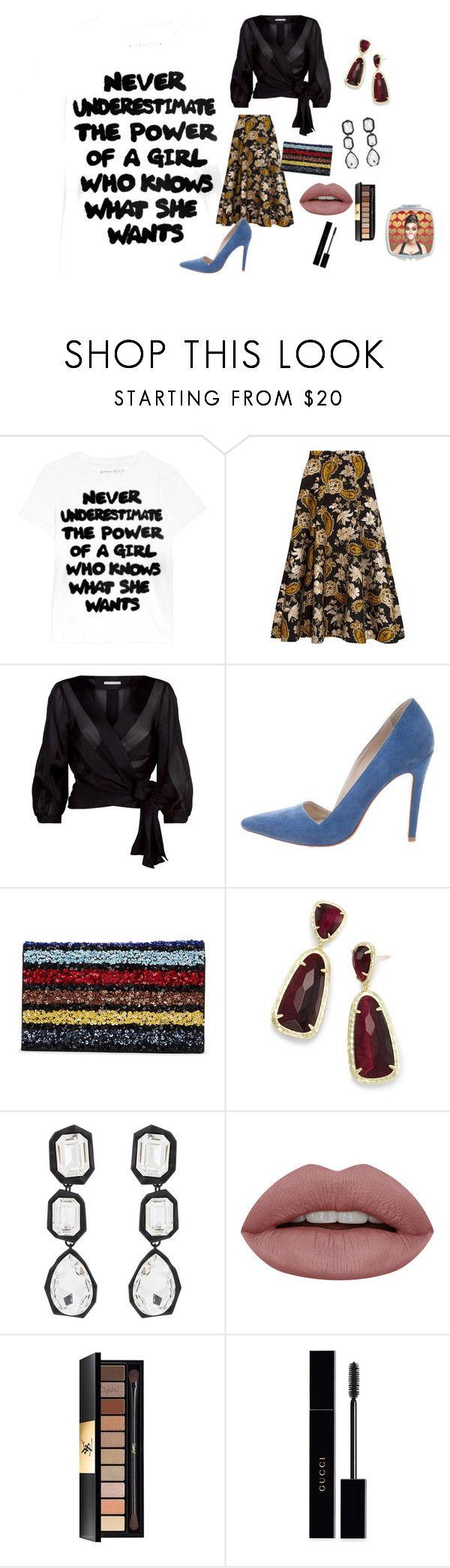 """ALICE+OLIVIA"" by rosastreet on Polyvore featuring moda, Alice + Olivia, Kendra Scott, AMBUSH, Yves Saint Laurent e Gucci"