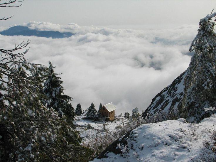 Tin Hat Mountain Hut in Powell River, British Columbia.