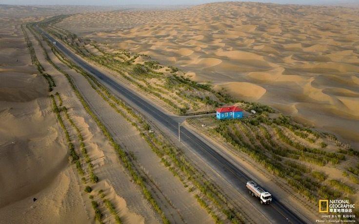 Taklamakan desert, in China - The Green Belt Along The World's Longest Desert Highway
