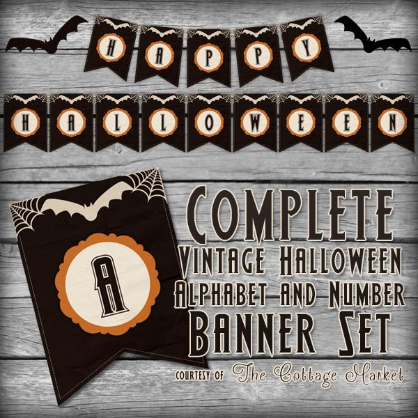 Halloween Banner | Free Printable Complete Alphabet. Decorative letter burlap tags.  Use for vintage, shabby- chic party & holiday decorating. DIY craft supplies & ideas. Visit this great site for lots of free printables & inspiration.