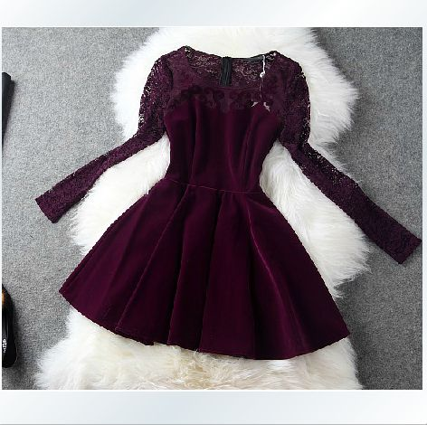 Sweet lace long-sleeved dress XD112702GH