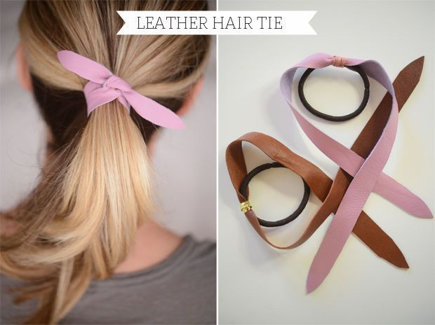 This leather hair tie has a secret (there's an actual elastic inside). | 31 Impossibly Pretty DIY Hair Accessories