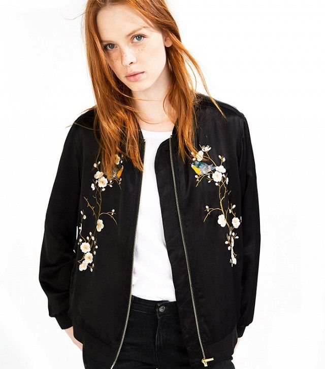 Zara Floral Embroidered Bomber Jacket