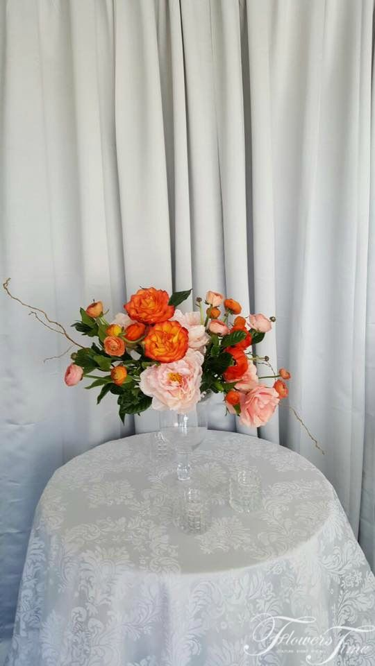 Wedding Centerpiece apricot orange colored ivory roses, peonies greenery by Flowers Time #linens#white#bridal#ideas#inspiration#toronto#florist