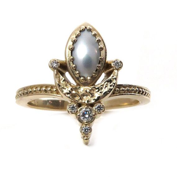 Marquise Pearl Moon Mistress Ring with Tiny by SwankMetalsmithing