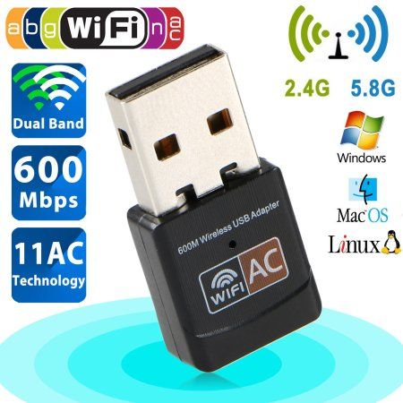 600Mbps Mini Wireless Dual Band 2.4/5GHz USB Wifi Adapter LAN Antenna Network Adapter 802.11ac/a/b/g/n - Walmart.com