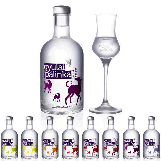 Gyulai pálinkás üveg design -
