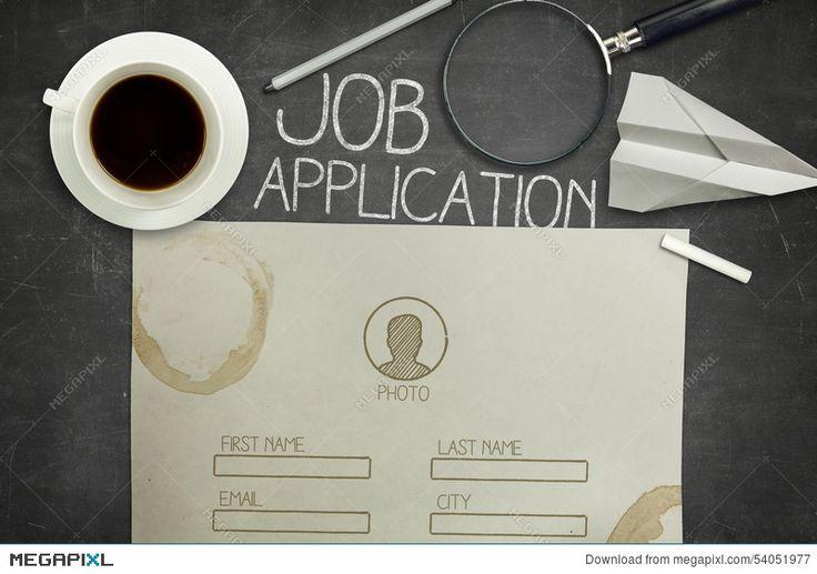 Job application concept on black blackboard with