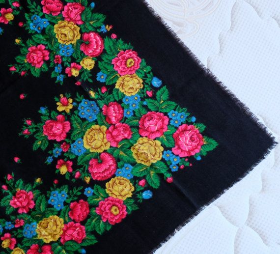 Vintage Black floral Russian shawl Babushka black by MadeInTheUSSR