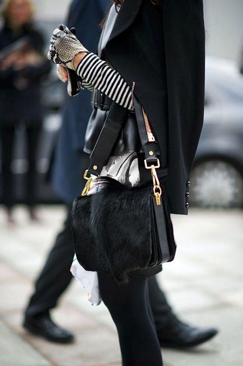 20120822-073820.jpgFashion, Texture, Street Style, Black White, Fur, Gloves, Stripes, Bags