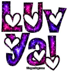 Glitter Text | Glitter Graphic Comment: Luv Ya Pink Purple Glitter Text With Hearts/ From Nancy...