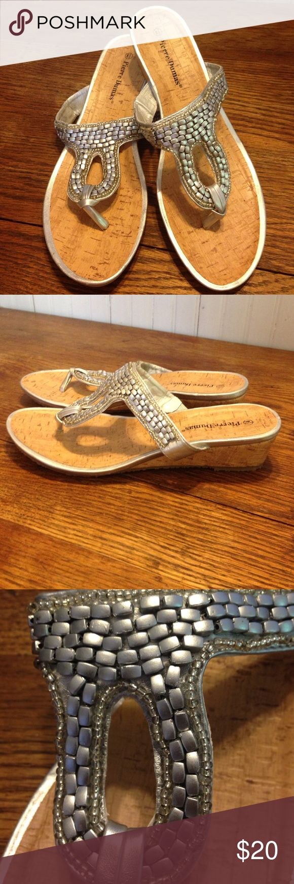"Pierre Dumas metallic cork sandals 8.5 Pierre Dumas cork sandals w/ silver beading 8.5. Beautiful silver on a cork sandal. Very small( 1.5"") wedge heel. These are in excellent condition Shoes Sandals"