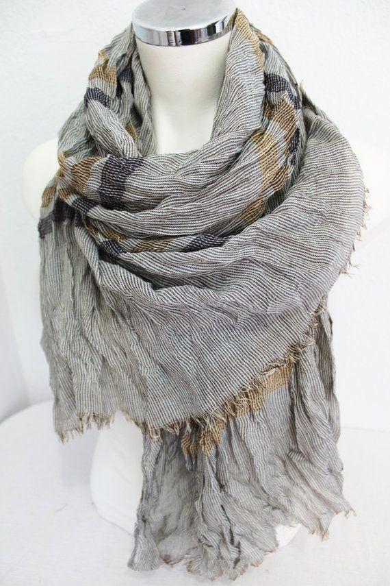 Brown biege men scarf Men scarf Striped men by Nazcolleccolors