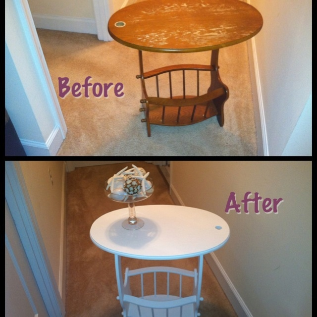 Magazine rack table ...love painted furniture  From https://www.facebook.com/pages/Eclectic-Comfort/100917520053180
