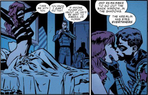 From Captain America and Bucky: The Life Story of Bucky Barnes. Bucky/Natasha are my OTP.