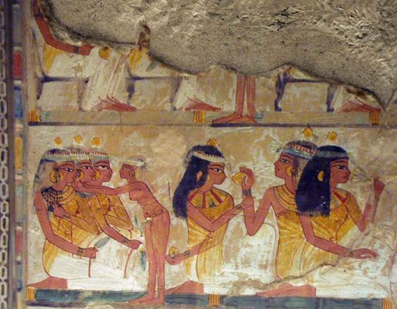 Ancient Egyptian wall paintings.