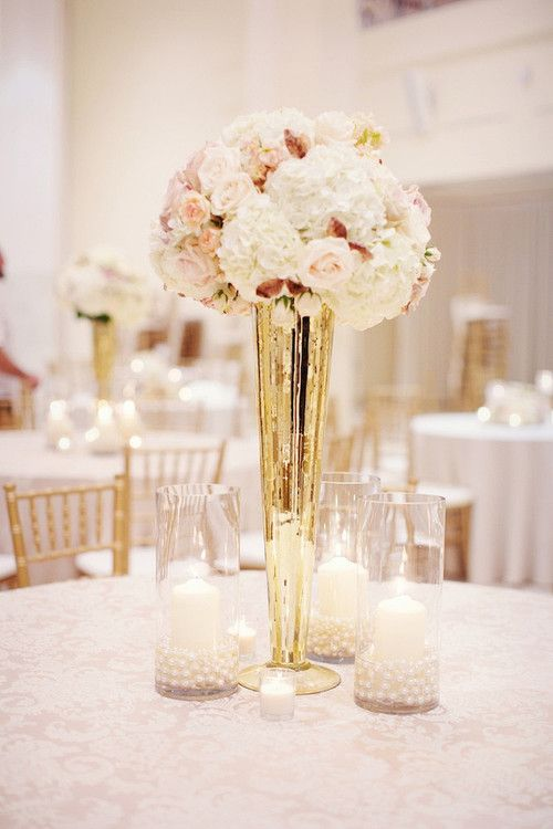 Saw this on Pin…so cool it's from Heidi and Tyler's wedding!   blush, gold, ivory, beige wedding arrangements... Found my own flower arrangements on Pinterest! So cool!