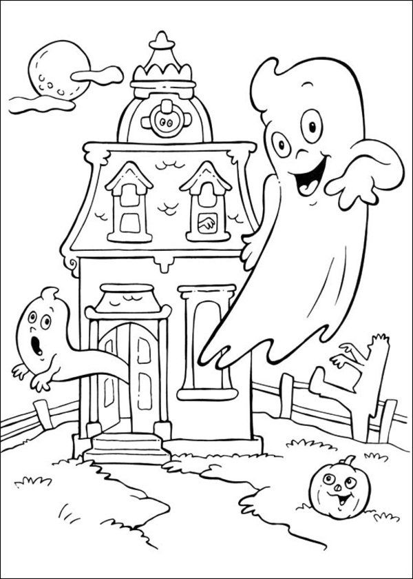Funschool Halloween Coloring Pages For Kids Ghost Haunted House