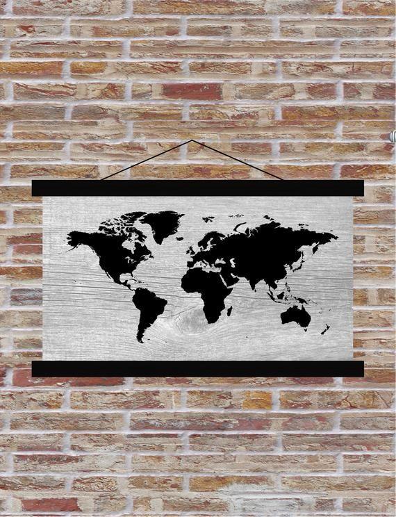 World Map Hanging Canvas Print Dorm Room Graduation Party