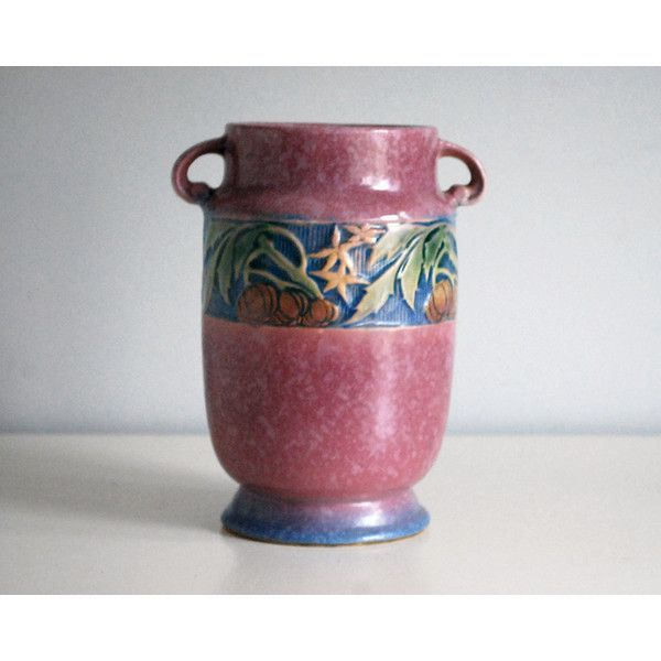 Roseville Baneda Vase, 1930s Art Pottery Vase, Fine Art Ceramics,... ($550) ❤ liked on Polyvore featuring home, home decor, vases, pink home accessories, pink home decor, pink vase and pottery vase