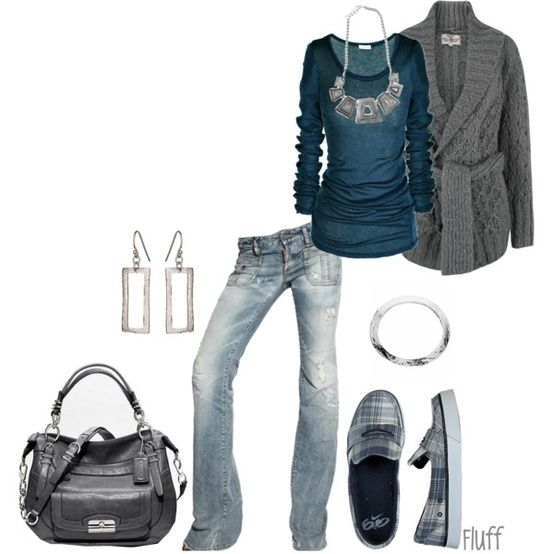 Navy and gray casual outfit for fall. Gray boots would look better for a more dressed up look.