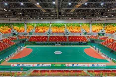 Rio 2016: the handball arena set to host events during the Rio Olympics next month is designed to be taken down and rebuilt as schools around the city (+ slideshow).