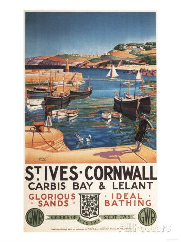 St. Ives, England – Harbor Scene with Girl and Gulls Railway Poster