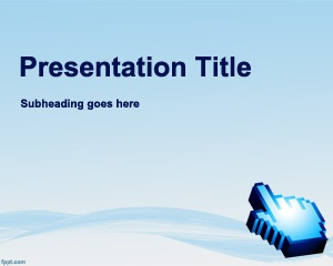 Free Software Development PowerPoint Template with light blue background and mouse cursor