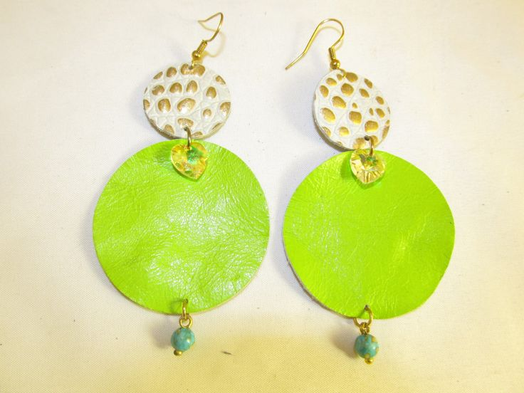 Handmade leather earrings (1 pair)  Made with light green and beige/gold embossed leather, swarovski hearts and turquoise stones.