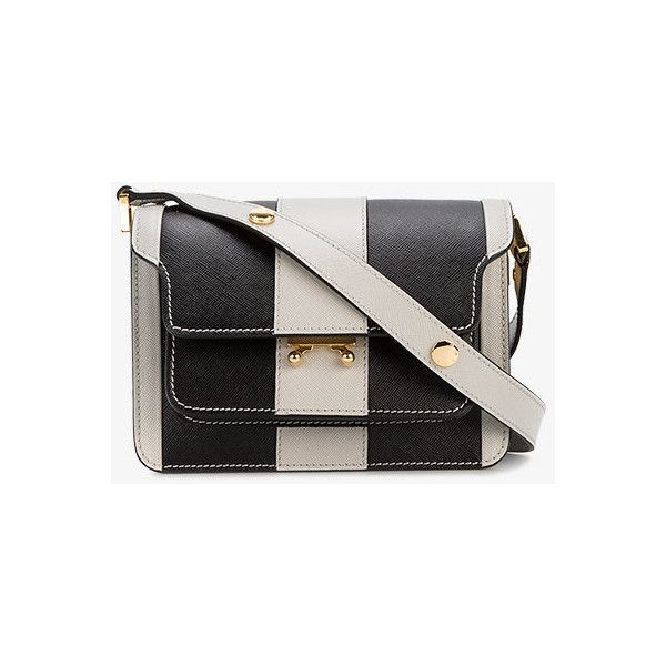 Marni Striped Mini Trunk Stripe Shoulder Bag ($1,860) ❤ liked on Polyvore featuring bags, handbags, shoulder bags, grey, man leather shoulder bag, grey shoulder bag, leather shoulder handbags, handbags shoulder bags and mini handbags