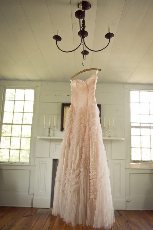Light Pink Vintage Style Wedding Gown - super cute for a country or rustic wedding, look at all the lace and ruffles!