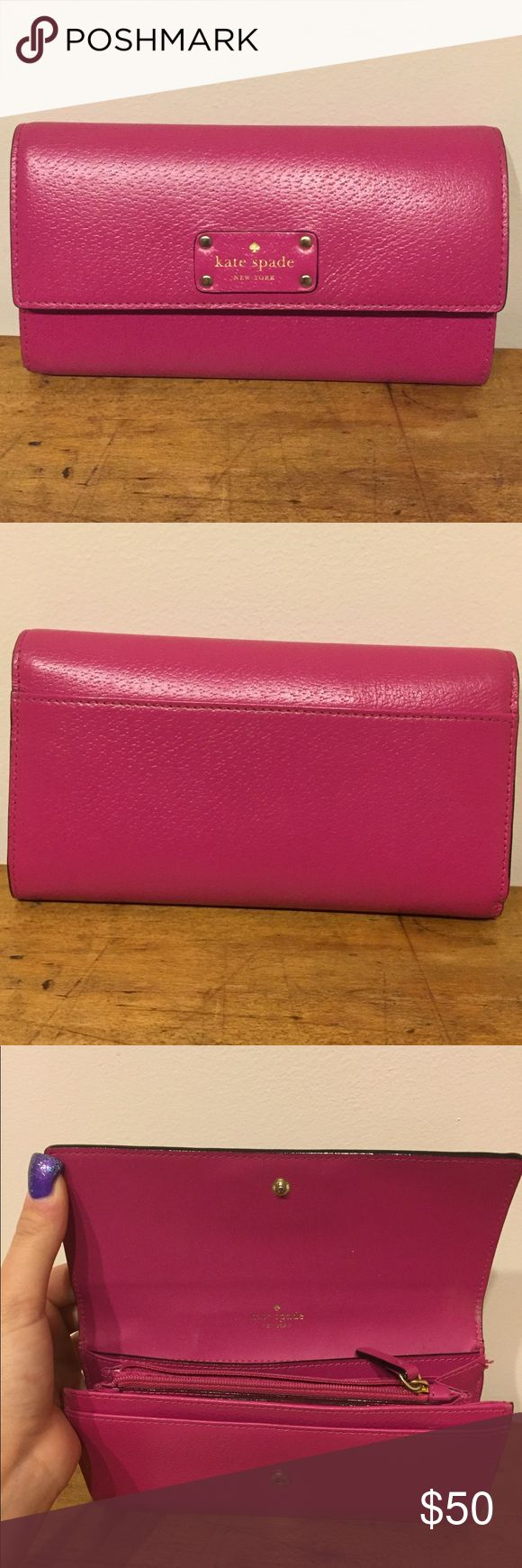 Final sale. Kate Spade Pink Wallet! Well loved, but the outside looks great, just mainly flaws on the inside all pictured. It's really cute! kate spade Bags