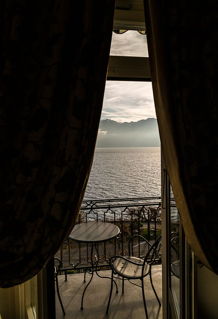 The view from our Junior Suite @ Hotel des Trois Couronnes #Vevey