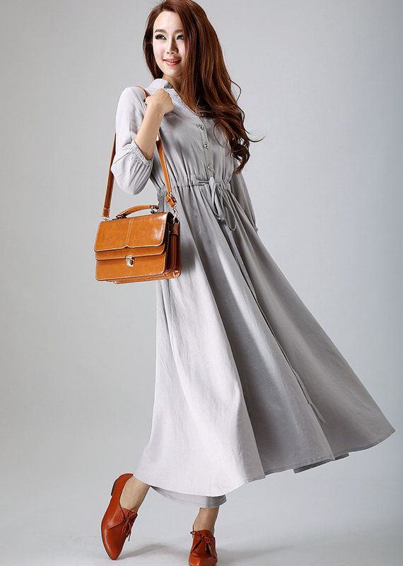 ** Details**  soft Grey linen fabric  Button front closure  3/4 sleeve  adjustable waist with string  Womens dress, party dress,evening dress,day dress