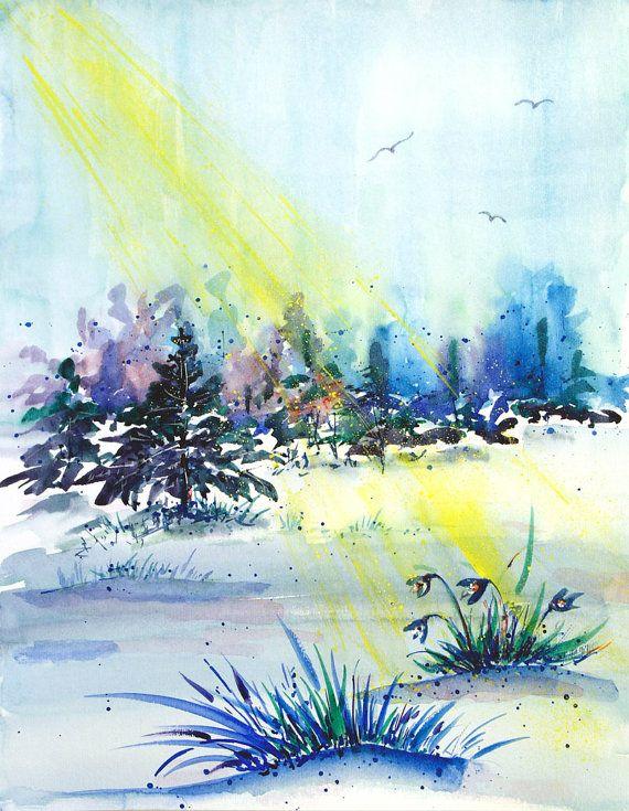 Landscape painting watercolor artwork Snowdrops Original