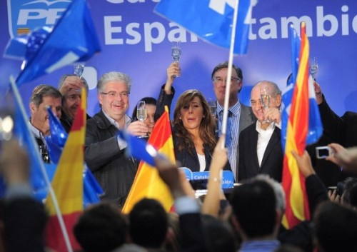 Alicia Sánchez Camacho celebra el resultado de las elecciones.